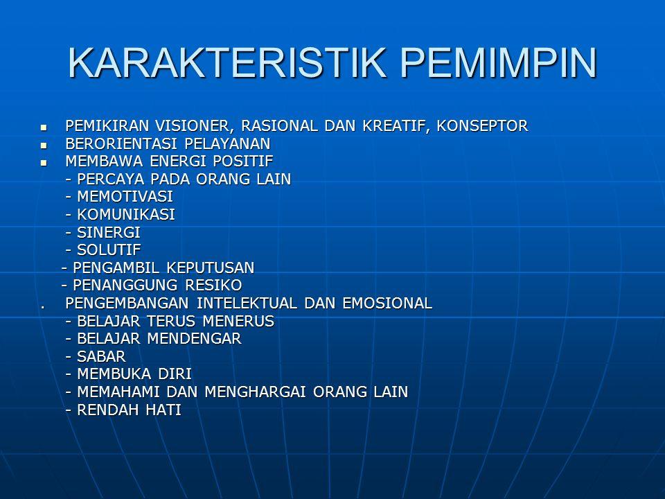 KARAKTERISTIK PEMIMPIN  PEMIKIRAN VISIONER, RASIONAL DAN KREATIF, KONSEPTOR  BERORIENTASI PELAYANAN  MEMBAWA ENERGI POSITIF - PERCAYA PADA ORANG LA