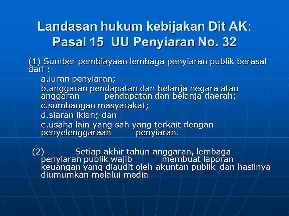 Landasan hukum kebijakan Dit AK: Pasal 15 UU Penyiaran No. 32 (1) Sumber pembiayaan lembaga penyiaran publik berasal dari : a.iuran penyiaran; b.angga