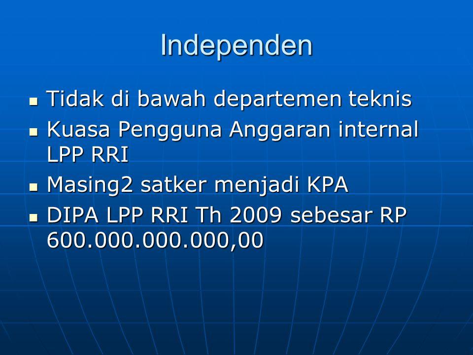 Independen  Tidak di bawah departemen teknis  Kuasa Pengguna Anggaran internal LPP RRI  Masing2 satker menjadi KPA  DIPA LPP RRI Th 2009 sebesar R