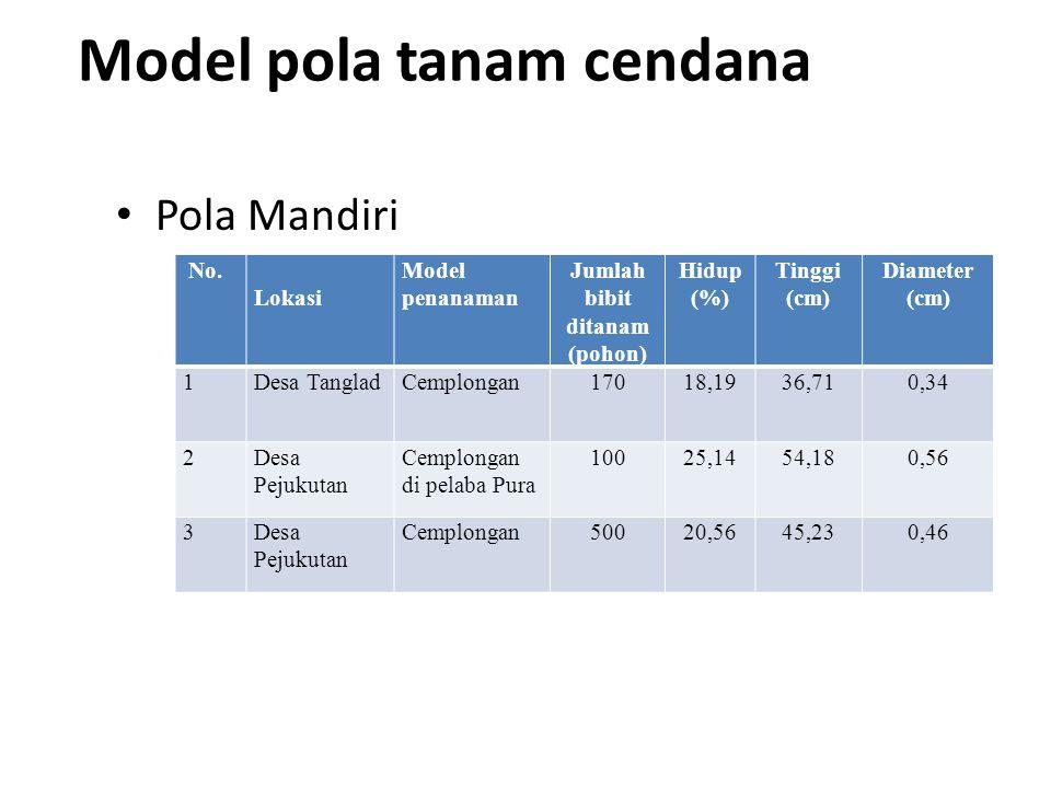 Model pola tanam cendana • Pola Mandiri No. Lokasi Model penanaman Jumlah bibit ditanam (pohon) Hidup (%) Tinggi (cm) Diameter (cm) 1Desa TangladCempl