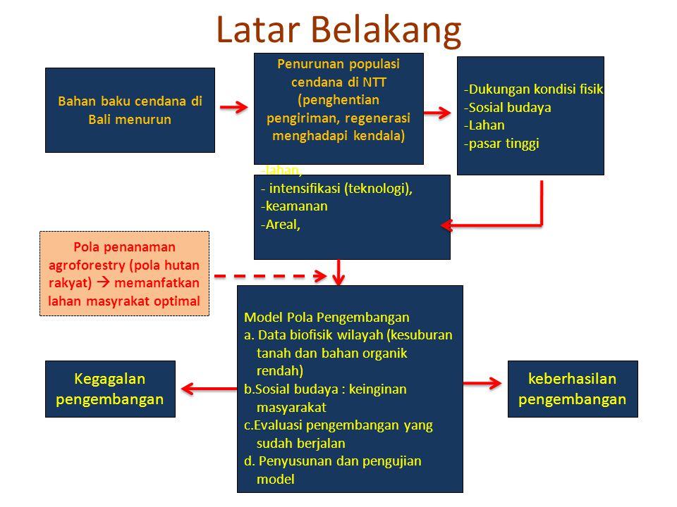 Tujuan penelitian • Mendapatkan teknik budidaya pola tanam cendana di lahan masyarakat Nusa Penida yang dapat meningkatkan pertumbuhan dan produktivitas tanaman