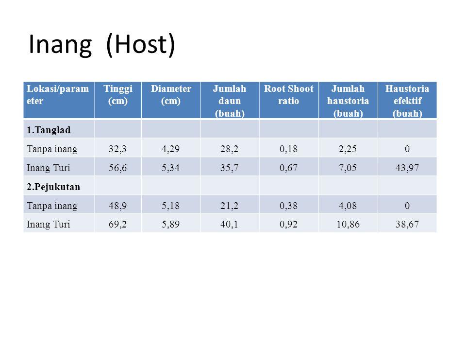 Inang (Host) Lokasi/param eter Tinggi (cm) Diameter (cm) Jumlah daun (buah) Root Shoot ratio Jumlah haustoria (buah) Haustoria efektif (buah) 1.Tangla