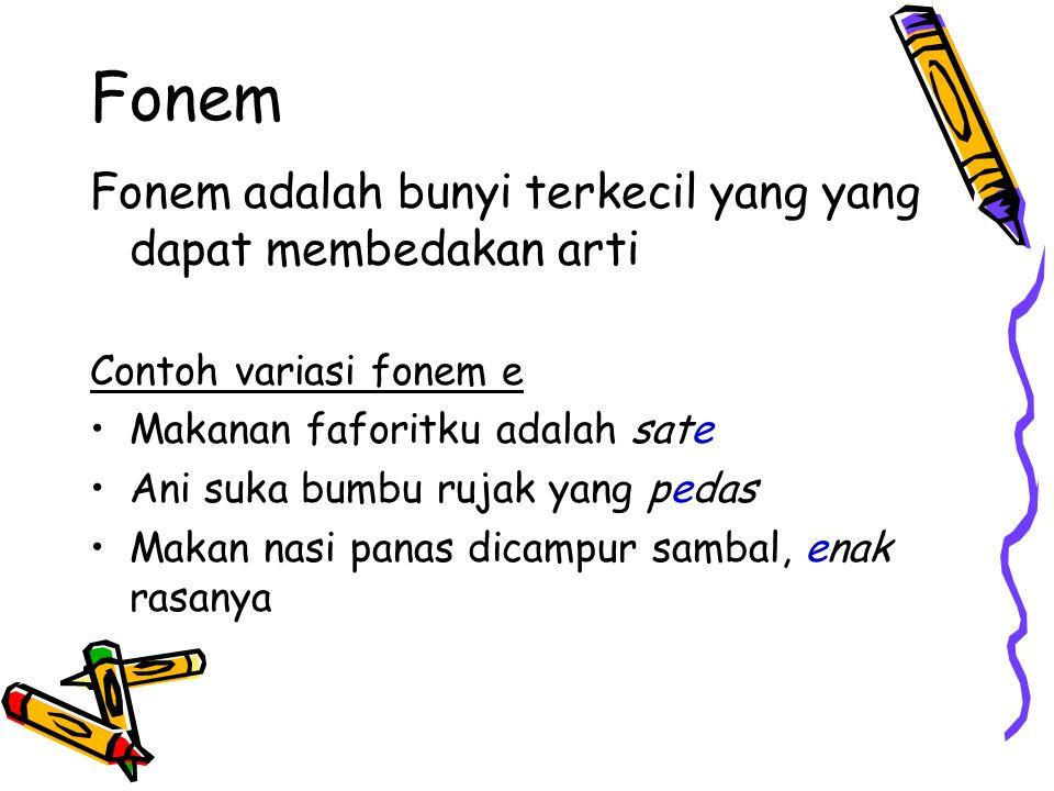 Fonem Huruf adalah lambang bunyi atau lambang fonem Contoh: Konsonan: b, c, d, f, … z Vokal: a,i, u,e, o