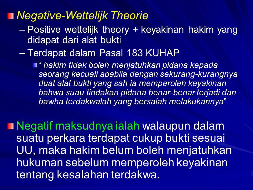 """Negative-Wettelijk Theorie – –Positive wettelijk theory + keyakinan hakim yang didapat dari alat bukti – –Terdapat dalam Pasal 183 KUHAP """" hakim tidak"""