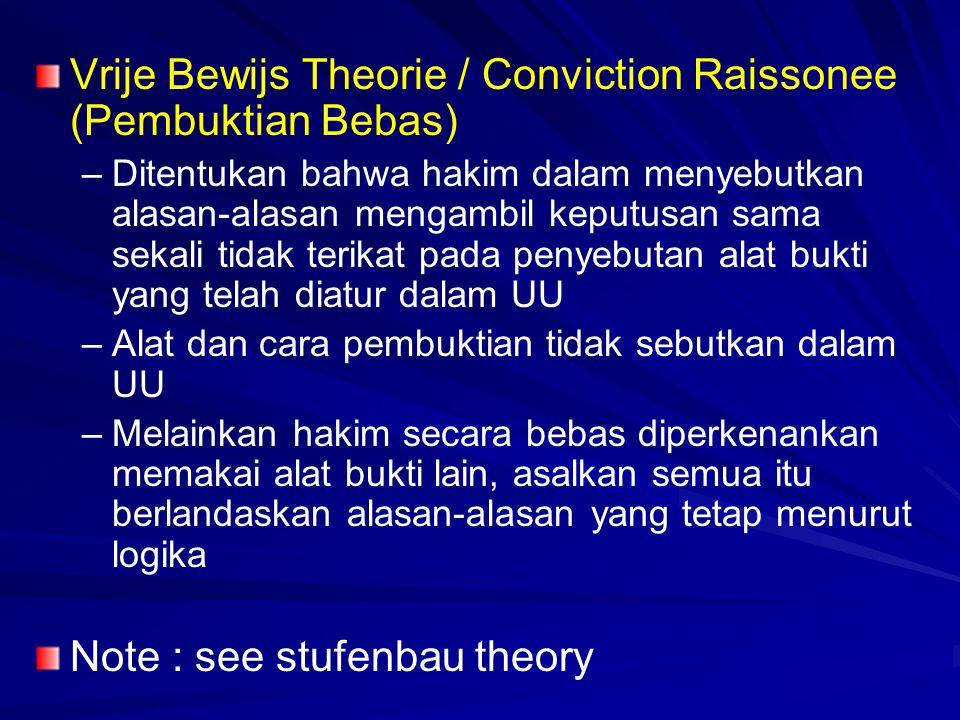 Vrije Bewijs Theorie / Conviction Raissonee (Pembuktian Bebas) – –Ditentukan bahwa hakim dalam menyebutkan alasan-alasan mengambil keputusan sama seka