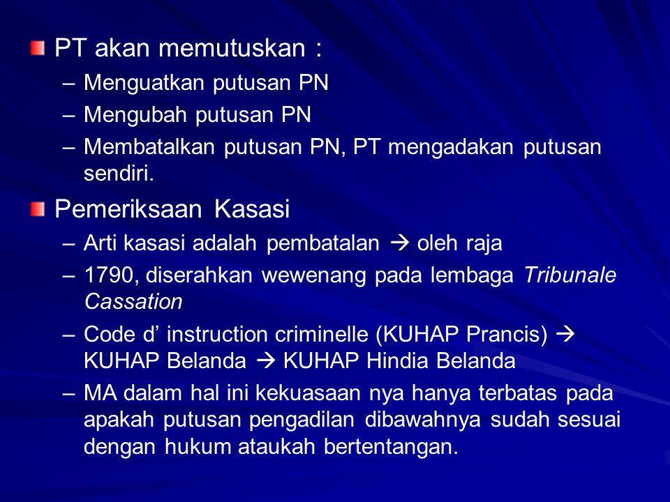 PT akan memutuskan : – –Menguatkan putusan PN – –Mengubah putusan PN – –Membatalkan putusan PN, PT mengadakan putusan sendiri. Pemeriksaan Kasasi – –A