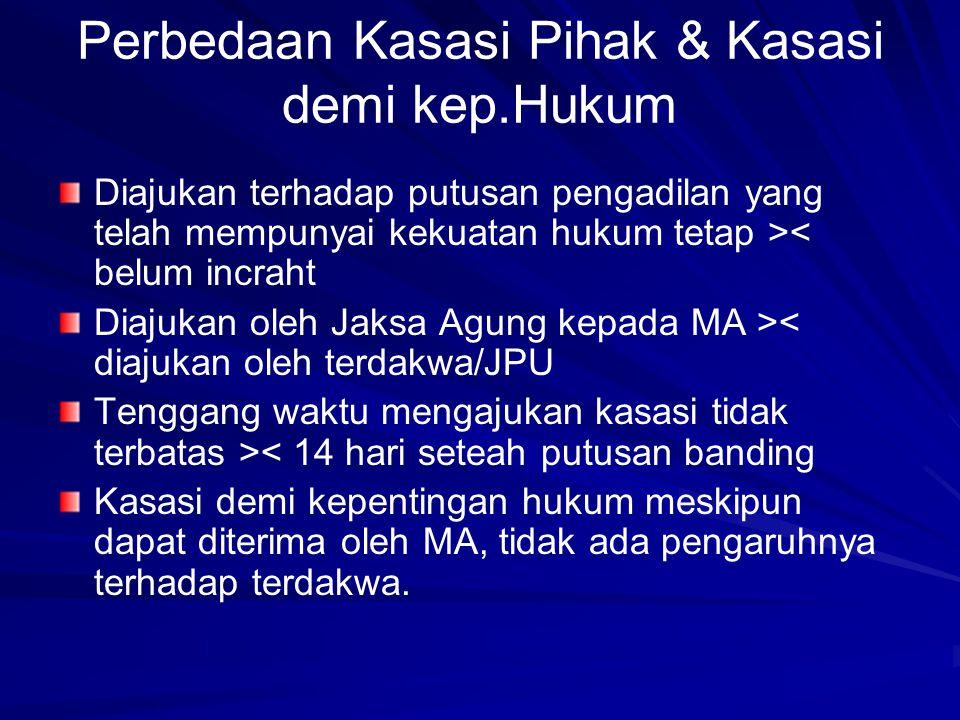 Perbedaan Kasasi Pihak & Kasasi demi kep.Hukum Diajukan terhadap putusan pengadilan yang telah mempunyai kekuatan hukum tetap >< belum incraht Diajuka