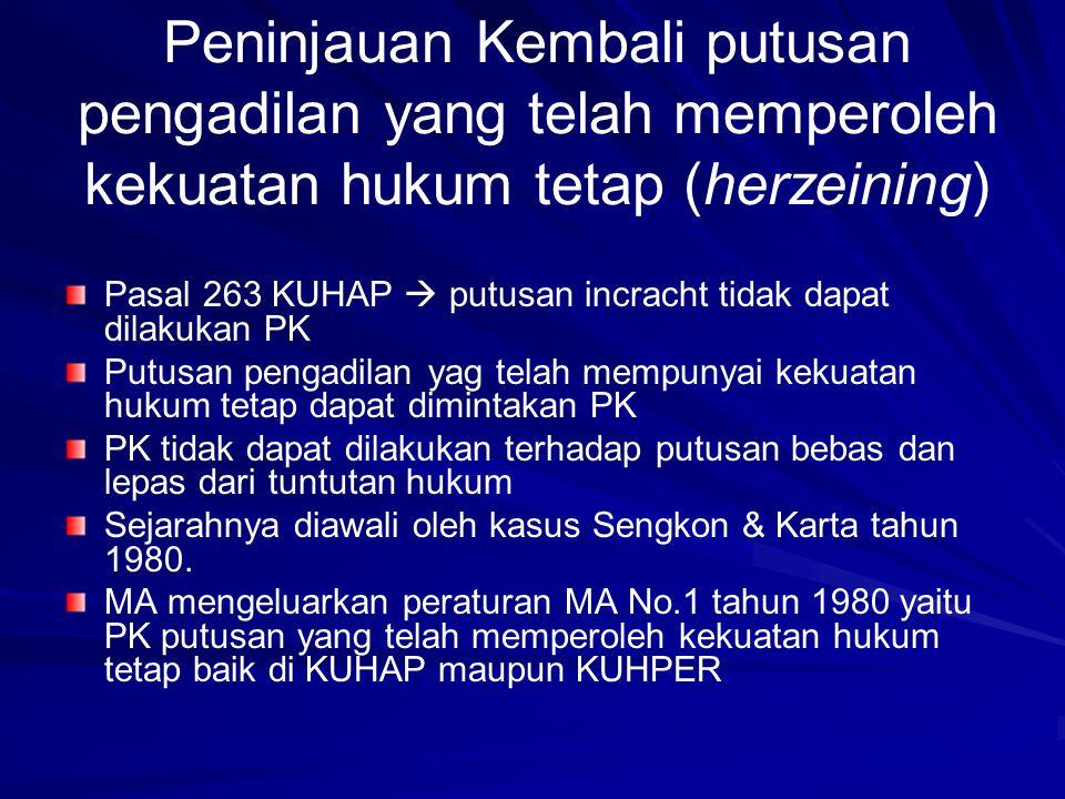 Peninjauan Kembali putusan pengadilan yang telah memperoleh kekuatan hukum tetap (herzeining) Pasal 263 KUHAP  putusan incracht tidak dapat dilakukan