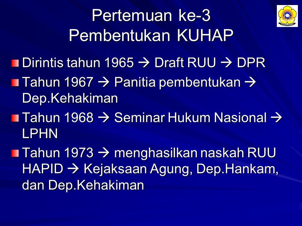 Pertemuan ke-3 Pembentukan KUHAP Dirintis tahun 1965  Draft RUU  DPR Tahun 1967  Panitia pembentukan  Dep.Kehakiman Tahun 1968  Seminar Hukum Nas