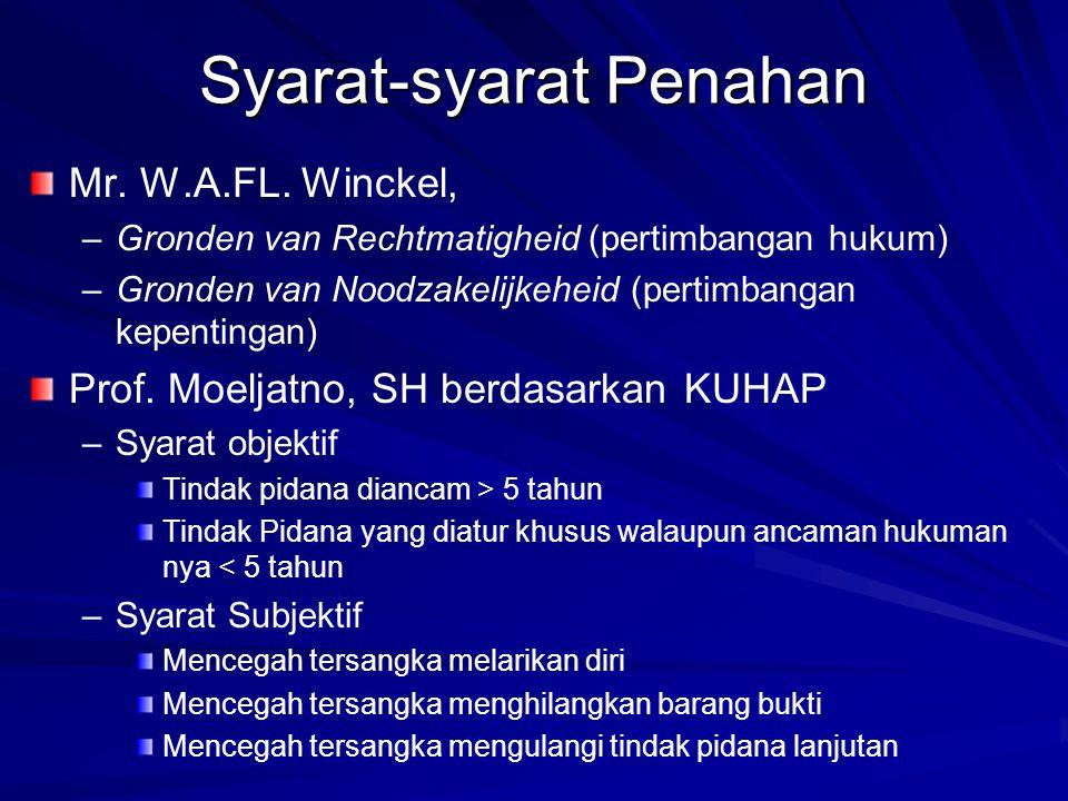 Syarat-syarat Penahan Mr. W.A.FL. Winckel, – –Gronden van Rechtmatigheid (pertimbangan hukum) – –Gronden van Noodzakelijkeheid (pertimbangan kepenting