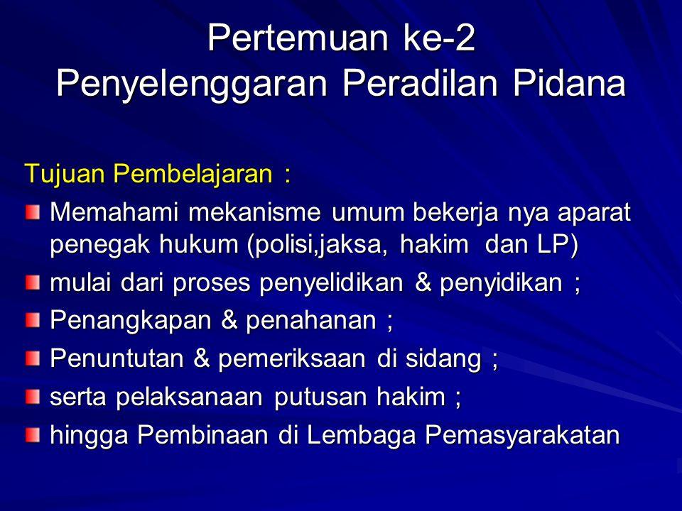 Pertemuan ke-11 Pemeriksaan di Sidang Pengadilan 4 macam sikap para pihak dalam persidangan Pidana : 1.