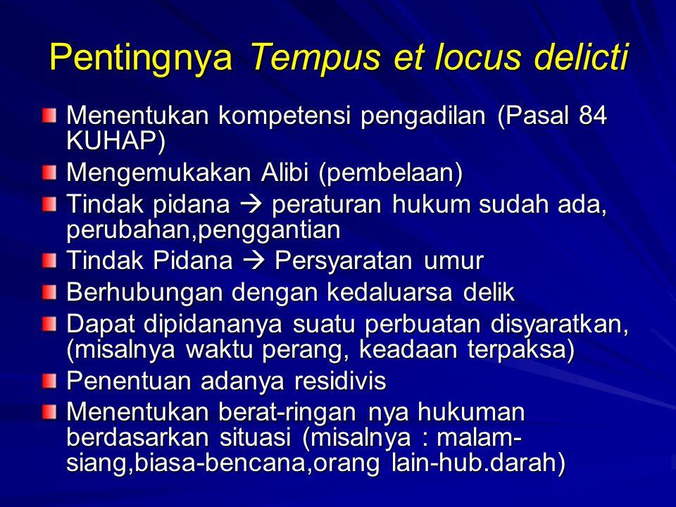 Pentingnya Tempus et locus delicti Menentukan kompetensi pengadilan (Pasal 84 KUHAP) Mengemukakan Alibi (pembelaan) Tindak pidana  peraturan hukum su