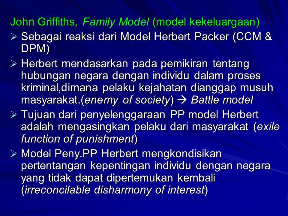John Griffiths, (model kekeluargaan) John Griffiths, Family Model (model kekeluargaan)  Sebagai reaksi dari Model Herbert Packer (CCM & DPM)  Herber
