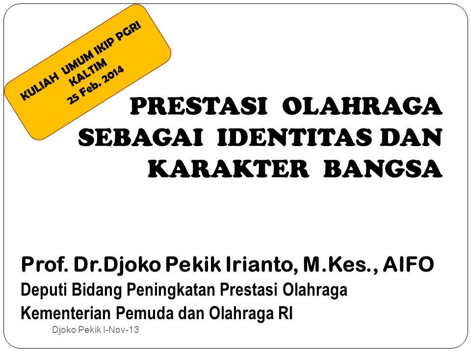 PRESTASI OLAHRAGA SEBAGAI IDENTITAS DAN KARAKTER BANGSA Prof.