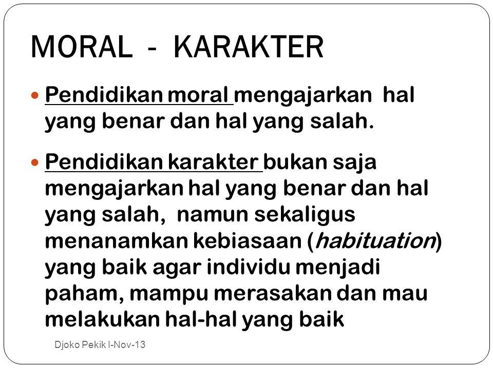MORAL - KARAKTER  Pendidikan moral mengajarkan hal yang benar dan hal yang salah.