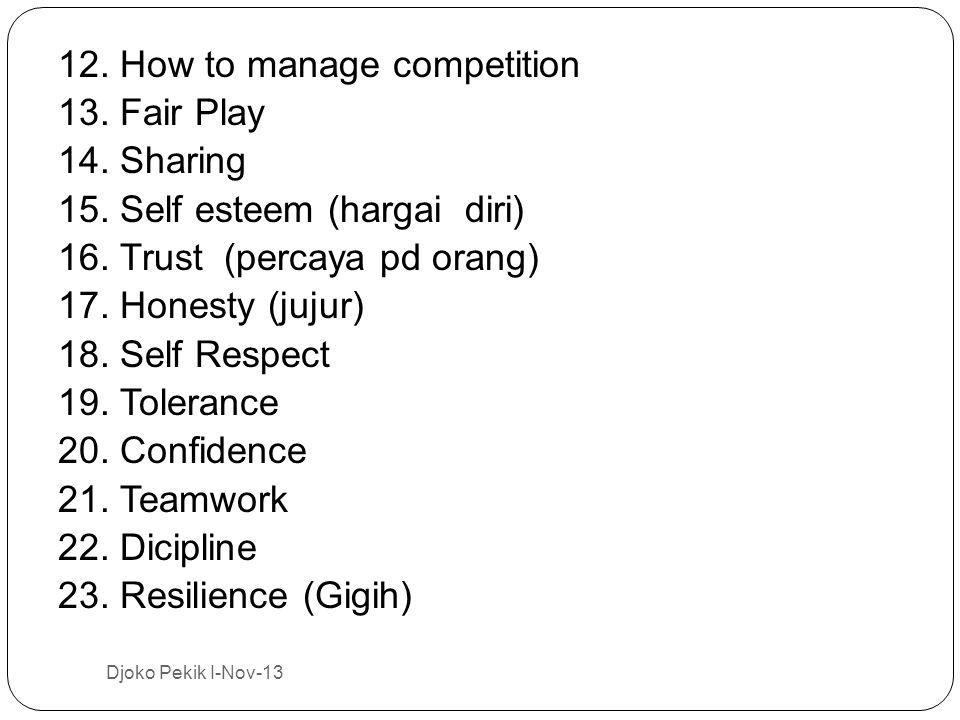 12. How to manage competition 13. Fair Play 14. Sharing 15. Self esteem (hargai diri) 16. Trust (percaya pd orang) 17. Honesty (jujur) 18. Self Respec