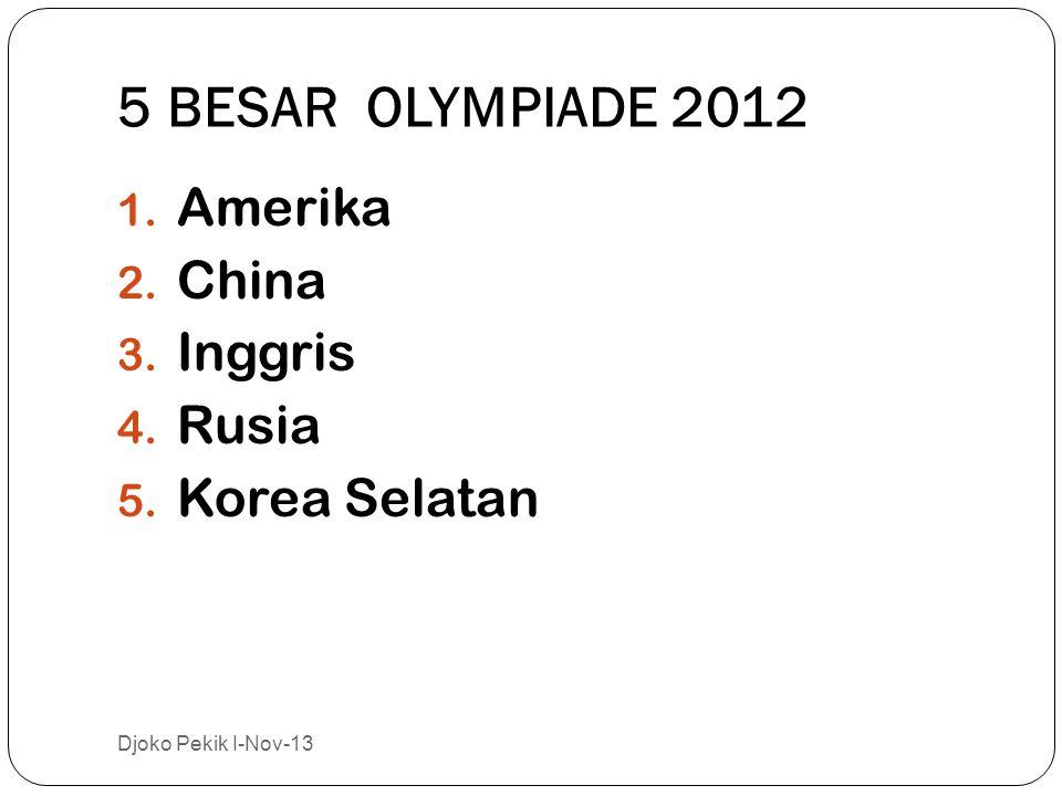 5 BESAR OLYMPIADE 2012 1.Amerika 2. China 3. Inggris 4.