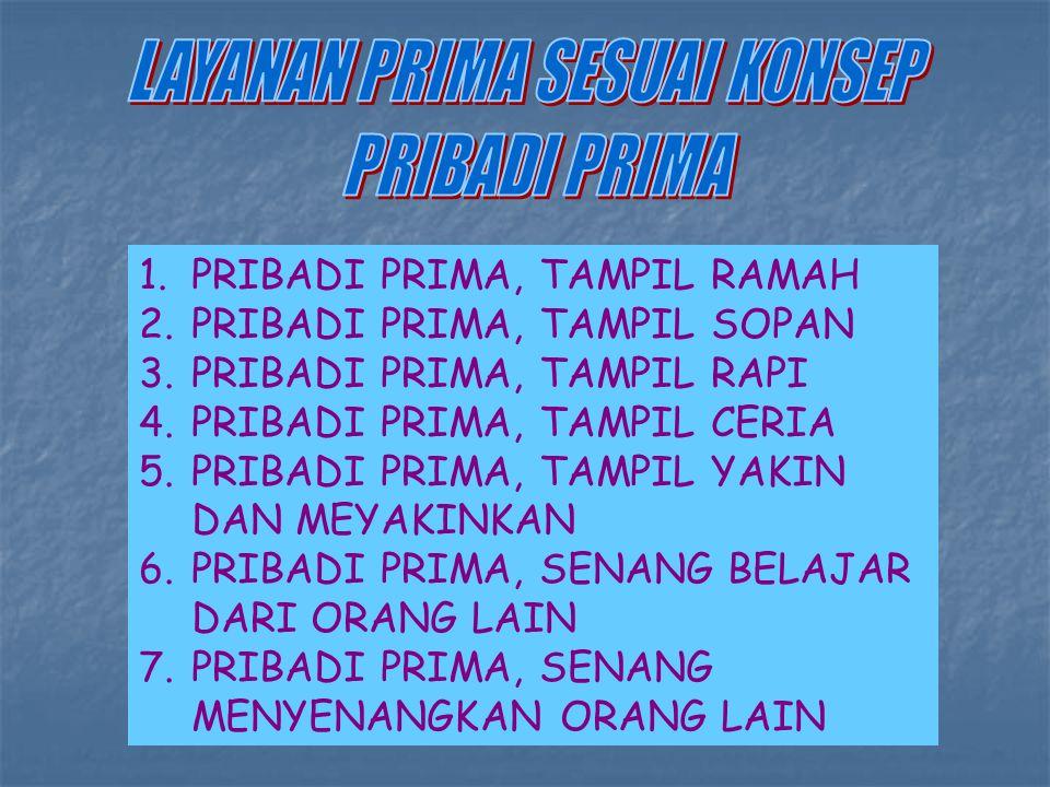 1.PRIBADI PRIMA, TAMPIL RAMAH 2.PRIBADI PRIMA, TAMPIL SOPAN 3.PRIBADI PRIMA, TAMPIL RAPI 4.PRIBADI PRIMA, TAMPIL CERIA 5.PRIBADI PRIMA, TAMPIL YAKIN DAN MEYAKINKAN 6.PRIBADI PRIMA, SENANG BELAJAR DARI ORANG LAIN 7.PRIBADI PRIMA, SENANG MENYENANGKAN ORANG LAIN