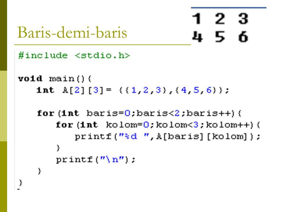 PROSES MATRIKS Matriks Program Proses_Matrik_BarisdemiBaris KAMUS #define M 2 #define N 3 int A[M][N]; ALGORITMA For Baris  0 to M-1 do For Kolom  0