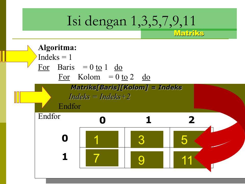 Isi dengan 1,2,3,4,5,6 Matriks Algoritma: Indeks = 1 For Baris = 0 to 1 do For Kolom = 0 to 2 do Matriks[Baris][Kolom] = Indeks Indeks = Indeks + 1 In