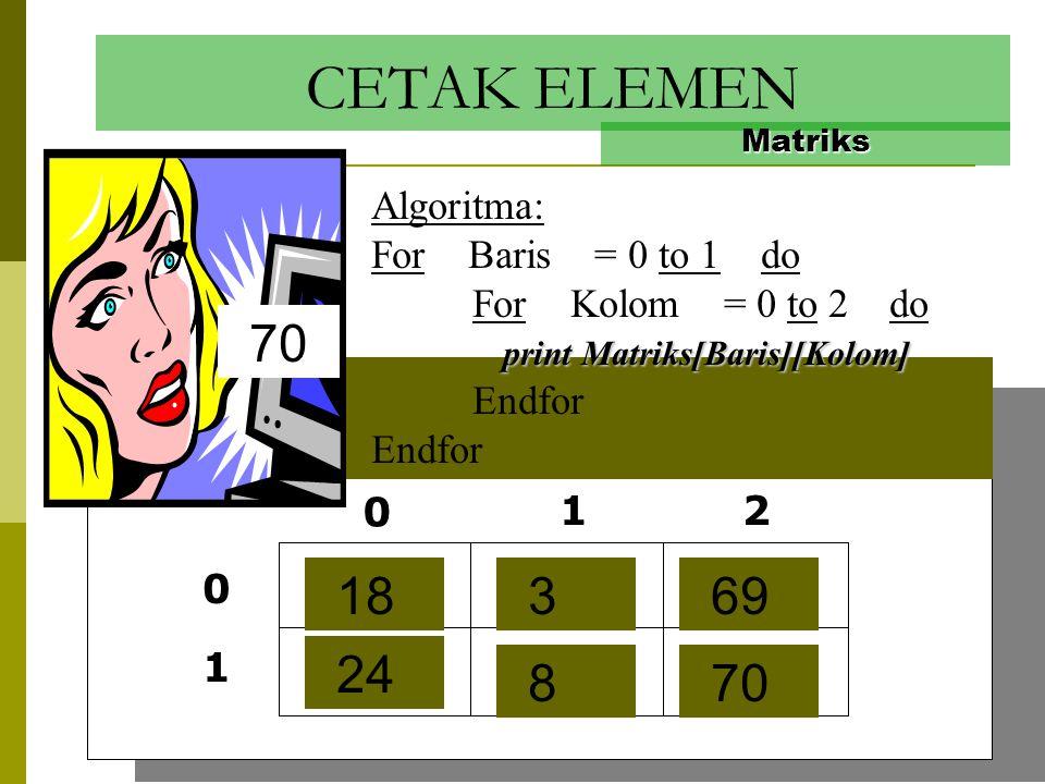 Isi dengan 1,3,5,7,9,11 Matriks Algoritma: Indeks = 1 For Baris = 0 to 1 do For Kolom = 0 to 2 do Matriks[Baris][Kolom] = Indeks Indeks = Indeks+2 Ind