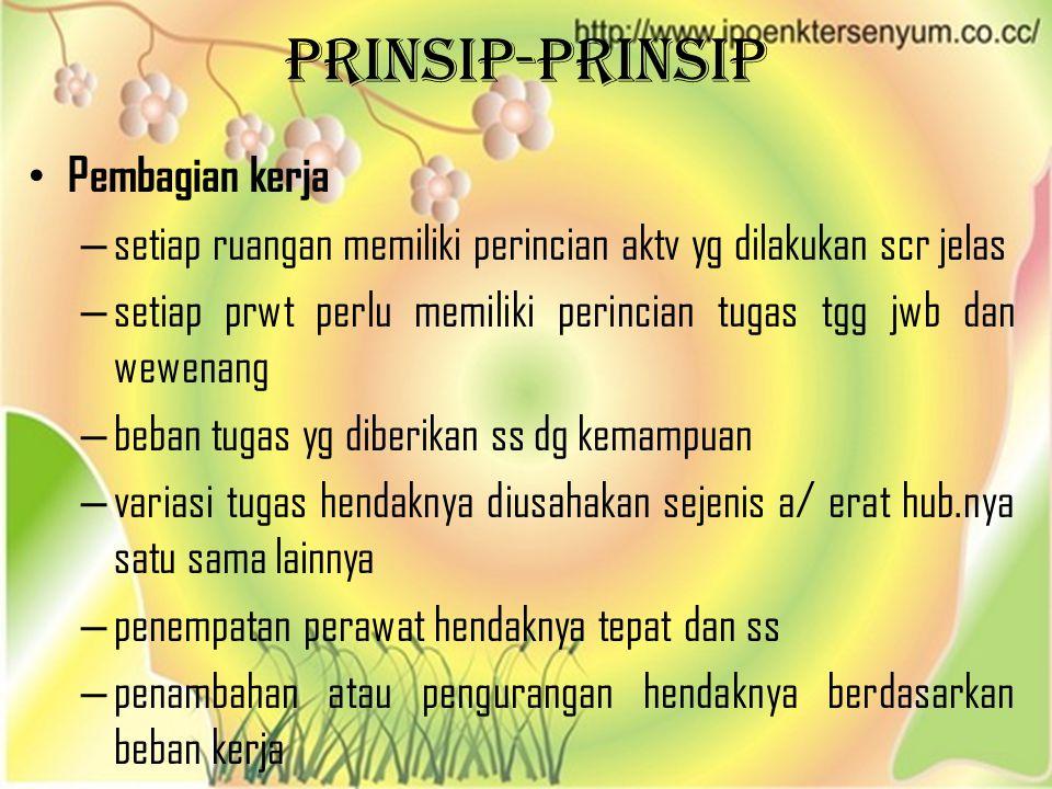 PRINSIP-PRINSIP • Pembagian kerja – setiap ruangan memiliki perincian aktv yg dilakukan scr jelas – setiap prwt perlu memiliki perincian tugas tgg jwb