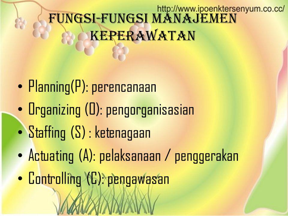 Fungsi-fungsi manajemen keperawatan • Planning(P): perencanaan • Organizing (O): pengorganisasian • Staffing (S) : ketenagaan • Actuating (A): pelaksa