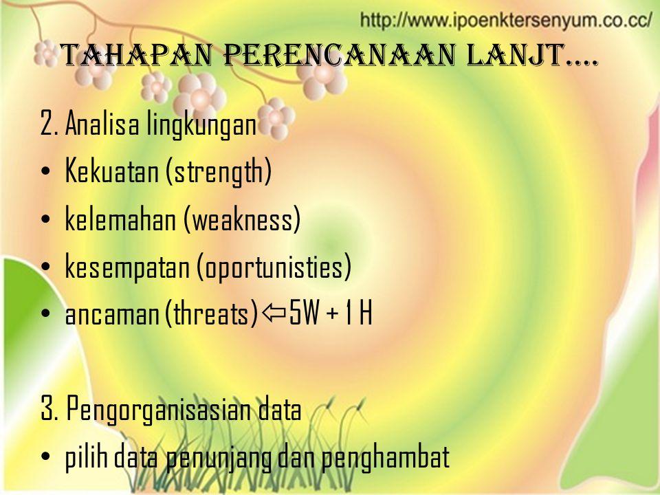 Tahapan perencanaan lanjt…. 2. Analisa lingkungan • Kekuatan (strength) • kelemahan (weakness) • kesempatan (oportunisties) • ancaman (threats)  5W +