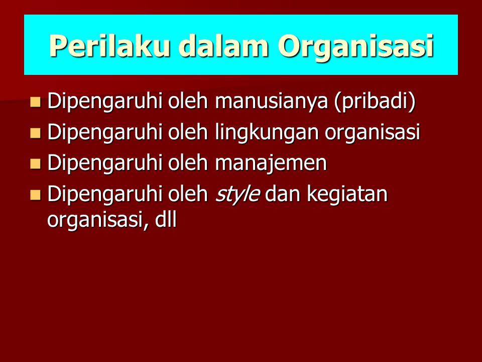 Perilaku dalam Organisasi  Dipengaruhi oleh manusianya (pribadi)  Dipengaruhi oleh lingkungan organisasi  Dipengaruhi oleh manajemen  Dipengaruhi