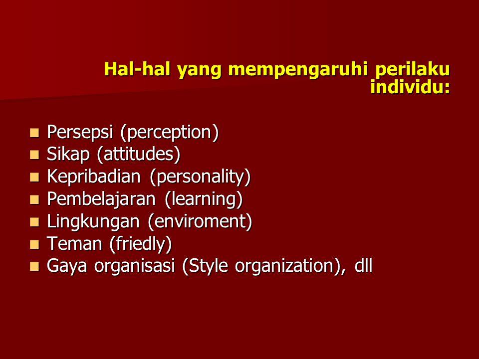 Hal-hal yang mempengaruhi perilaku individu:  Persepsi (perception)  Sikap (attitudes)  Kepribadian (personality)  Pembelajaran (learning)  Lingkungan (enviroment)  Teman (friedly)  Gaya organisasi (Style organization), dll