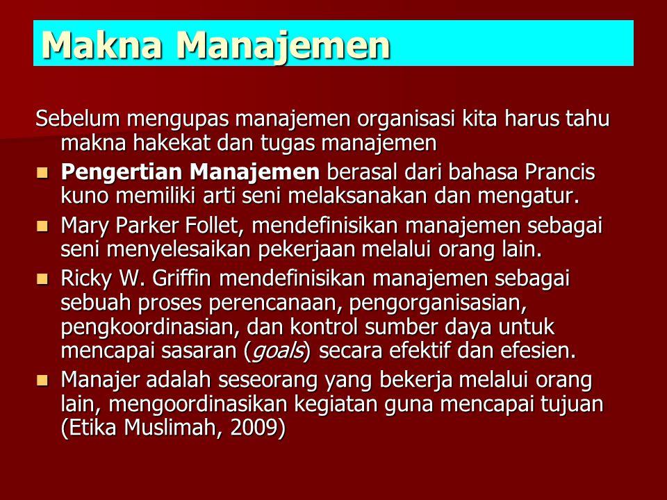 Makna Manajemen Sebelum mengupas manajemen organisasi kita harus tahu makna hakekat dan tugas manajemen  Pengertian Manajemen berasal dari bahasa Prancis kuno memiliki arti seni melaksanakan dan mengatur.