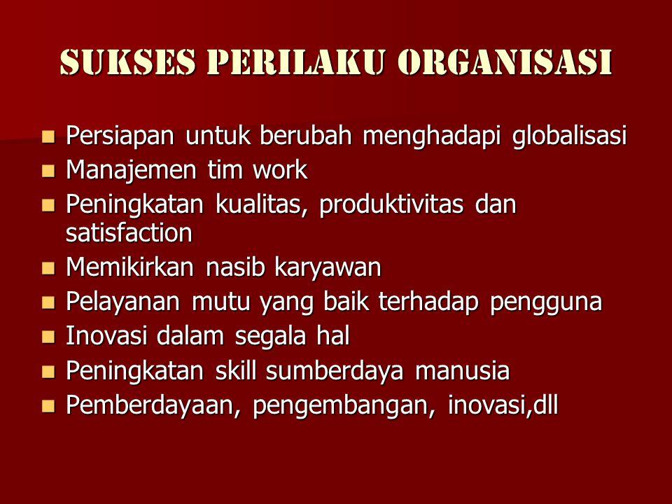 Sukses Perilaku Organisasi  Persiapan untuk berubah menghadapi globalisasi  Manajemen tim work  Peningkatan kualitas, produktivitas dan satisfactio