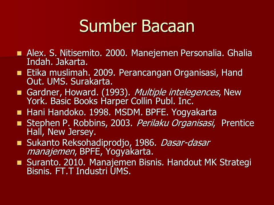 Sumber Bacaan  Alex. S. Nitisemito. 2000. Manejemen Personalia. Ghalia Indah. Jakarta.  Etika muslimah. 2009. Perancangan Organisasi, Hand Out. UMS.