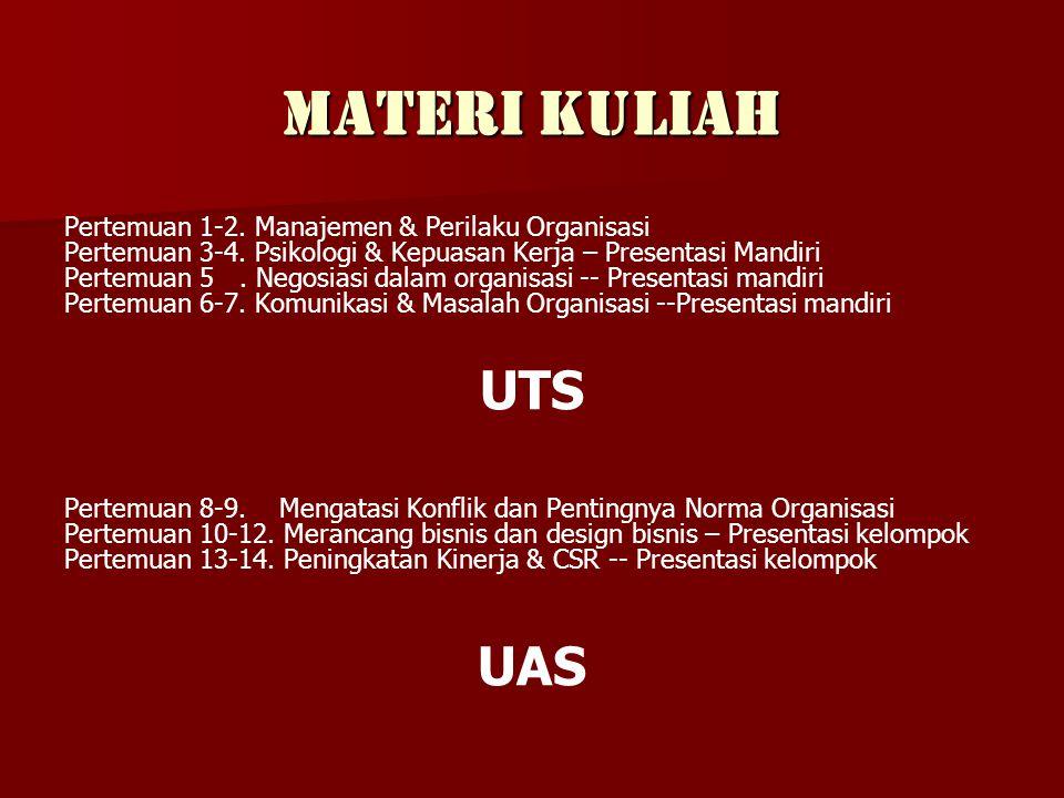 Materi Kuliah Pertemuan 1-2.Manajemen & Perilaku Organisasi Pertemuan 3-4.