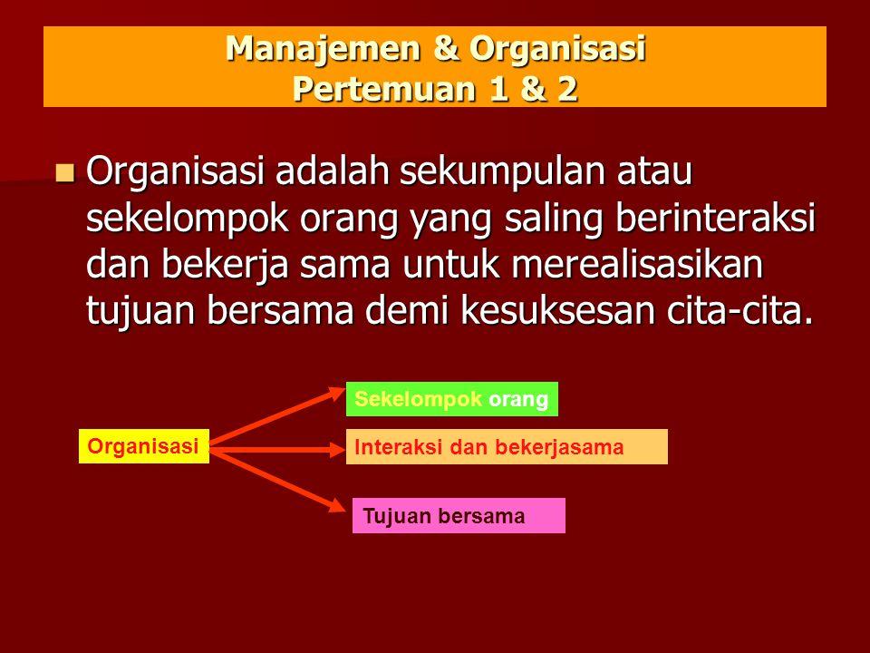 Manajemen & Organisasi Pertemuan 1 & 2  Organisasi adalah sekumpulan atau sekelompok orang yang saling berinteraksi dan bekerja sama untuk merealisasikan tujuan bersama demi kesuksesan cita-cita.