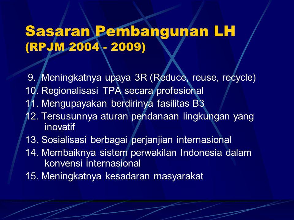 9. Meningkatnya upaya 3R (Reduce, reuse, recycle) 10. Regionalisasi TPA secara profesional 11. Mengupayakan berdirinya fasilitas B3 12. Tersusunnya at