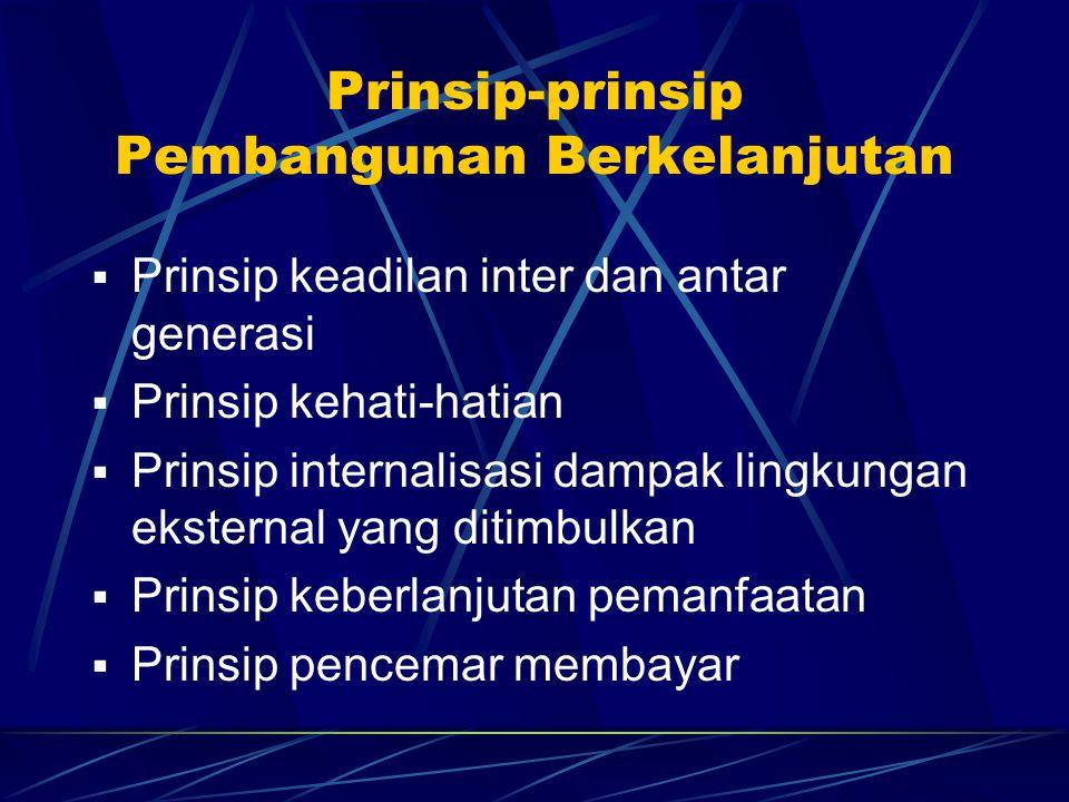 Prinsip-prinsip Pembangunan Berkelanjutan  Prinsip keadilan inter dan antar generasi  Prinsip kehati-hatian  Prinsip internalisasi dampak lingkunga