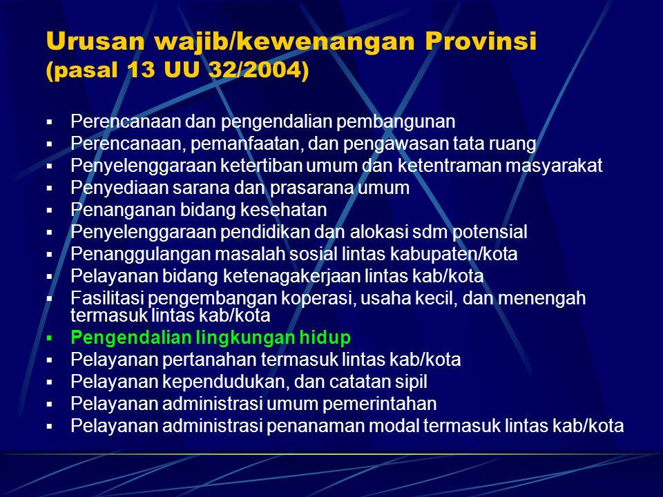 Urusan wajib/kewenangan Provinsi (pasal 13 UU 32/2004)  Perencanaan dan pengendalian pembangunan  Perencanaan, pemanfaatan, dan pengawasan tata ruan