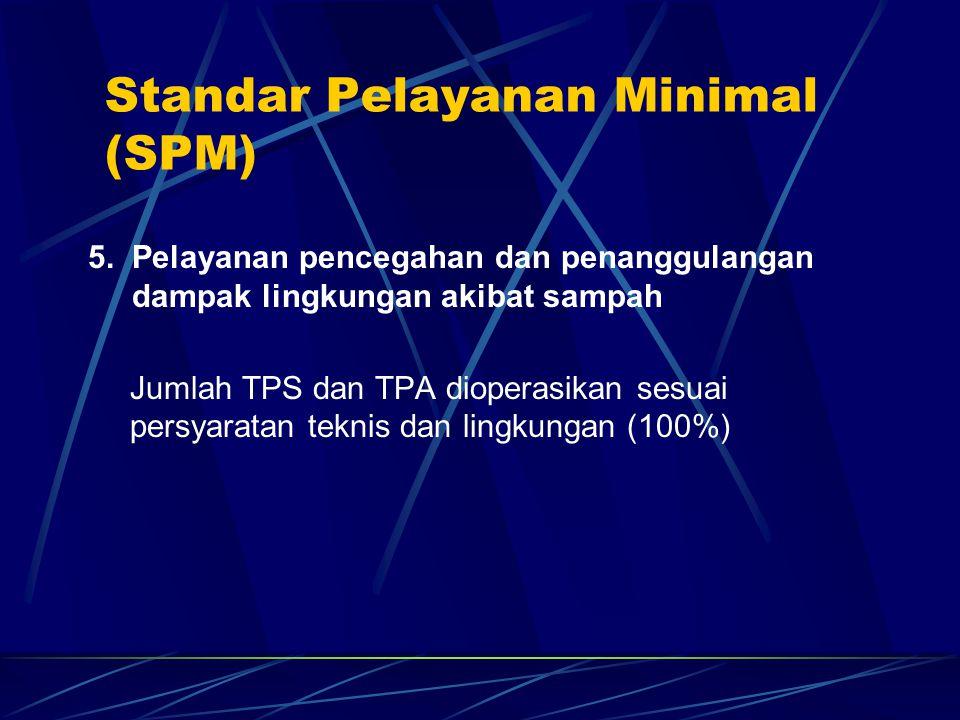 5. Pelayanan pencegahan dan penanggulangan dampak lingkungan akibat sampah Jumlah TPS dan TPA dioperasikan sesuai persyaratan teknis dan lingkungan (1