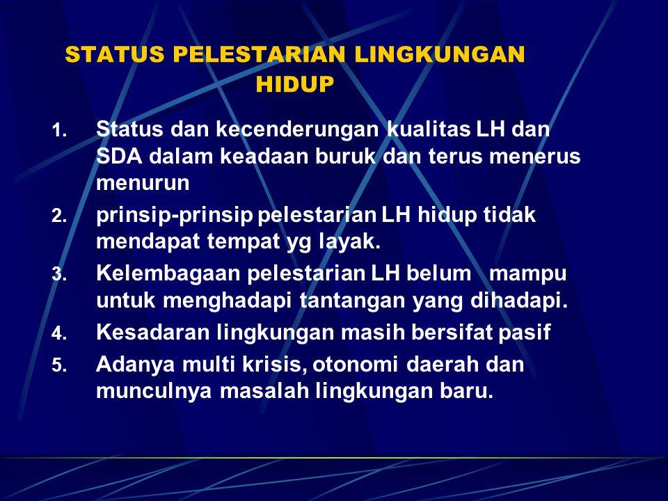 STATUS PELESTARIAN LINGKUNGAN HIDUP 1. Status dan kecenderungan kualitas LH dan SDA dalam keadaan buruk dan terus menerus menurun 2. prinsip-prinsip p