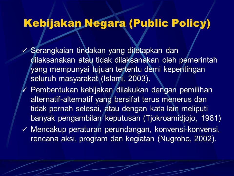 Kebijakan Negara (Public Policy)  Serangkaian tindakan yang ditetapkan dan dilaksanakan atau tidak dilaksanakan oleh pemerintah yang mempunyai tujuan