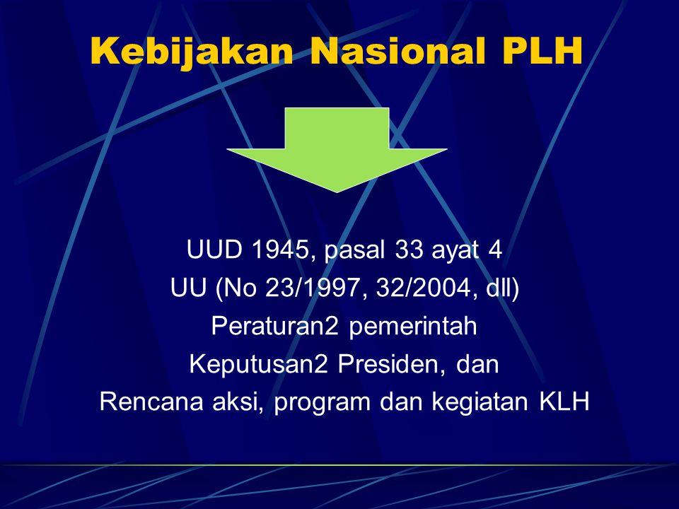 Kebijakan Nasional PLH UUD 1945, pasal 33 ayat 4 UU (No 23/1997, 32/2004, dll) Peraturan2 pemerintah Keputusan2 Presiden, dan Rencana aksi, program da