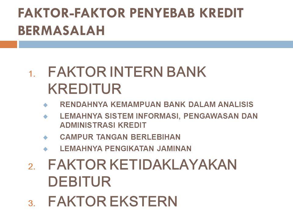 FAKTOR-FAKTOR PENYEBAB KREDIT BERMASALAH 1. FAKTOR INTERN BANK KREDITUR  RENDAHNYA KEMAMPUAN BANK DALAM ANALISIS  LEMAHNYA SISTEM INFORMASI, PENGAWA