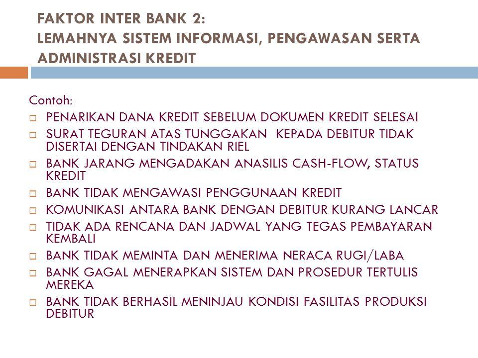 FAKTOR INTER BANK 3: CAMPUR TANGAN BERLEBIHAN DALAM KEPUTUSAN KREDIT Contoh:  KREDIT DIBERIKAN ATAS USUL DARI PIHAK PETUGAS BANK YANG BERSAHABAT DENGAN DEBITUR  PIMPINAN PUNCAK BANK TERLALU DOMINAN DALAM PROSES PENGAMBILAN KEPUTUSAN KREDIT