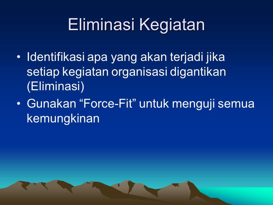 Eliminasi Kegiatan •Identifikasi apa yang akan terjadi jika setiap kegiatan organisasi digantikan (Eliminasi) •Gunakan Force-Fit untuk menguji semua kemungkinan