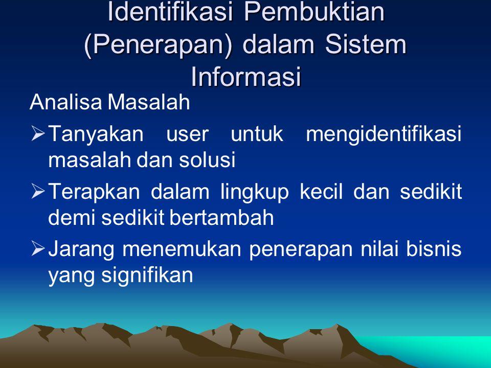Identifikasi Pembuktian (Penerapan) dalam Sistem Informasi Analisa Masalah  Tanyakan user untuk mengidentifikasi masalah dan solusi  Terapkan dalam