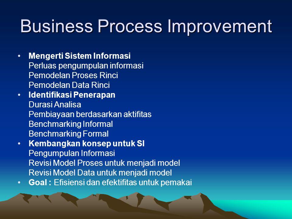 Business Process Improvement •Mengerti Sistem Informasi Perluas pengumpulan informasi Pemodelan Proses Rinci Pemodelan Data Rinci •Identifikasi Penera