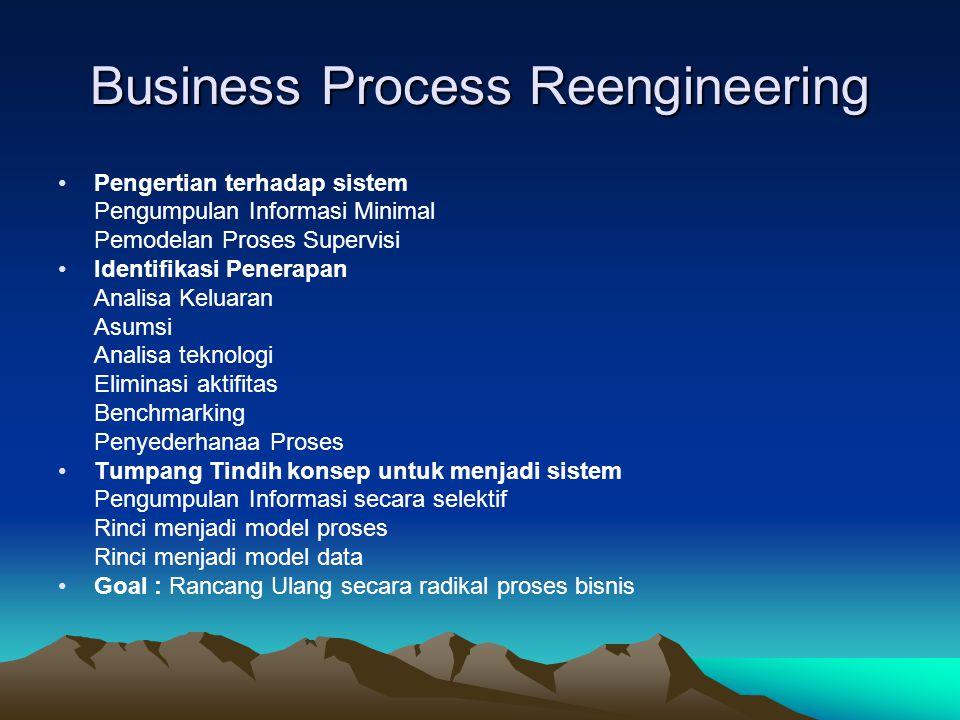 Business Process Reengineering •Pengertian terhadap sistem Pengumpulan Informasi Minimal Pemodelan Proses Supervisi •Identifikasi Penerapan Analisa Keluaran Asumsi Analisa teknologi Eliminasi aktifitas Benchmarking Penyederhanaa Proses •Tumpang Tindih konsep untuk menjadi sistem Pengumpulan Informasi secara selektif Rinci menjadi model proses Rinci menjadi model data •Goal : Rancang Ulang secara radikal proses bisnis