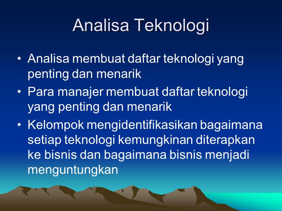 Analisa Teknologi •Analisa membuat daftar teknologi yang penting dan menarik •Para manajer membuat daftar teknologi yang penting dan menarik •Kelompok