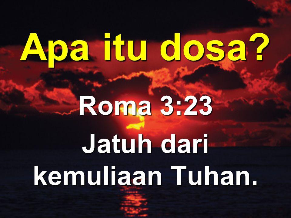 Apa itu dosa? Roma 3:23 Jatuh dari kemuliaan Tuhan.